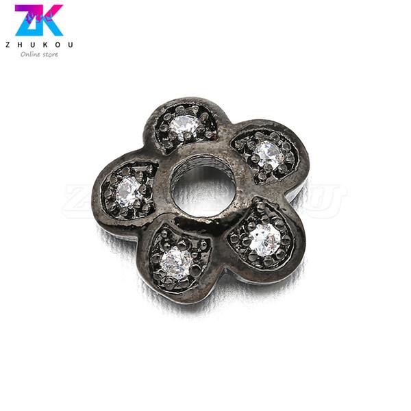 10pcs 8*8mm Classical Sparkling Brass Cubic Zirconia Bead Caps DIY Jewelry Bracelet Necklace Making,Trumpet Shape Model: VH8