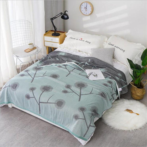 2 layers soft lightweight bamboo cotton muslin blanket quilt bedding coverlet bedspread 150x200cm