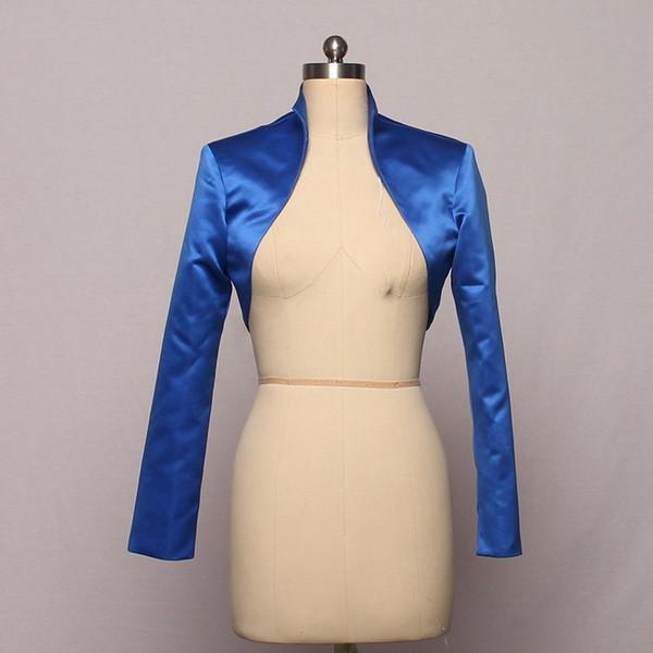 New popular Custom High Neck Satin Bridal Wedding Coat Shoulders fashionable long sleeve bolero Jacket Women Wedding Accessories