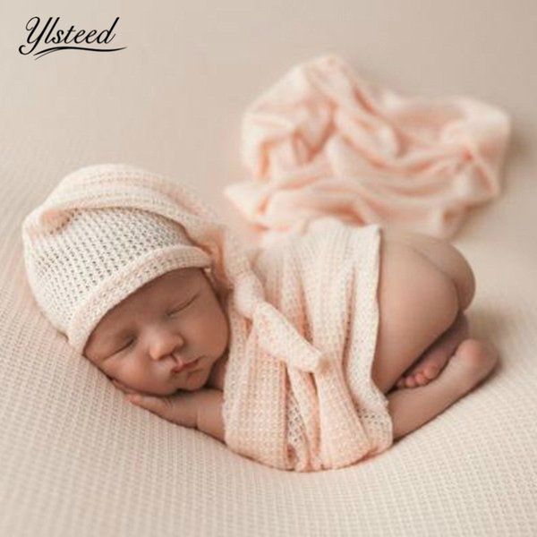 Ylsteed Newborn Photography Props Knit Baby Sleepy Knotted Cap Wrap Set Baby Photo Props Stretchy Swaddle Blanket Newborn Hat J190517
