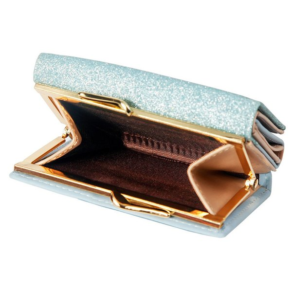 1 Pcs Women Mini Sequin Decor Wallets PU Leather 3 Folds Purse Lady Short Wallet MSJ99