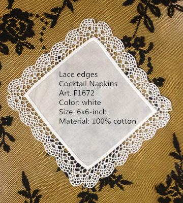 """top popular Set of 36 Table Napkins New Venice lace Trim Style White Coton Coaster  Cocktail Napkins 6""""X6""""inch Party Supplies makes guests feel welcome 2021"""