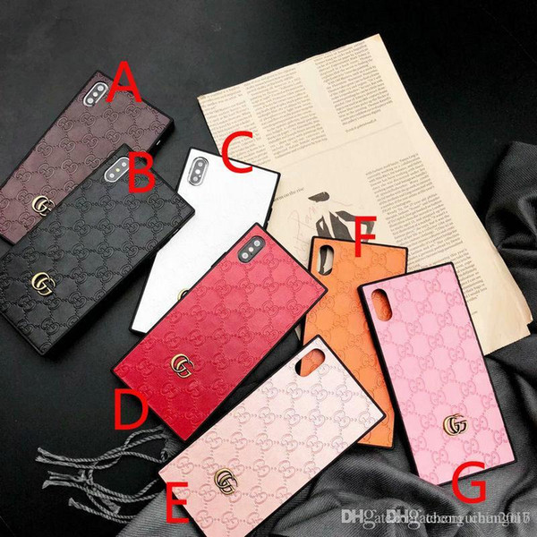 brand embossed letter G square phone case for iphone Xs max Xr X 7 7plus 8 8plus 6 6plus TPU silicone soft shell
