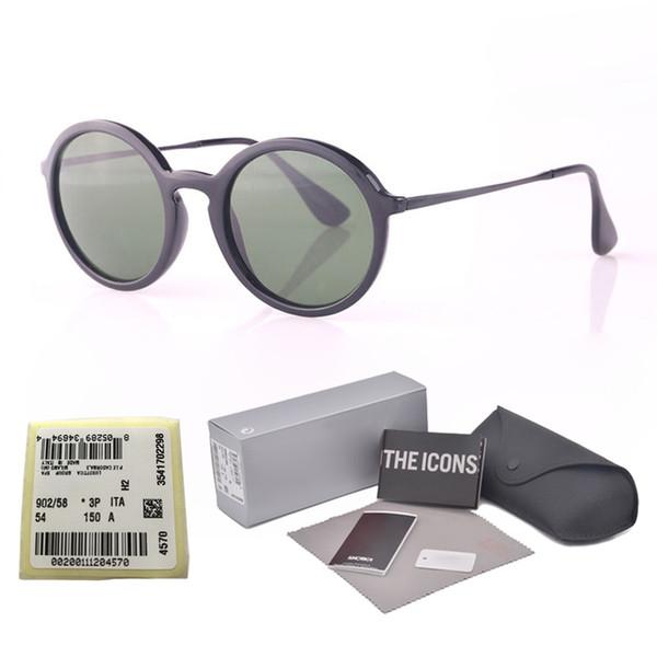 Marka Tasarımcısı (Cam Lens) Yuvarlak Güneş Kadınlar Retro Güneş Gözlüğü Bayanlar Güneş gözlükleri Kadın Parlak Kılıfla ...