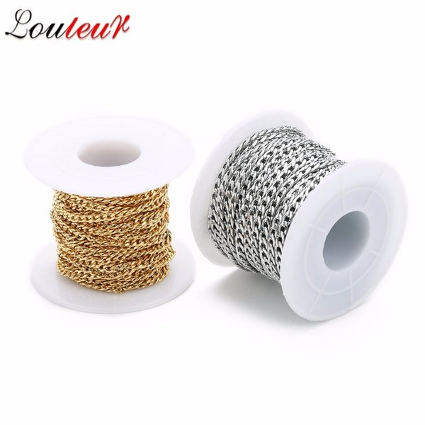 wholesale 10yard Gold/Silver Vinatge Men Stainless Steel Figaro Chain For DIY Necklace Jewelry Finding Making Bijoux Accessories