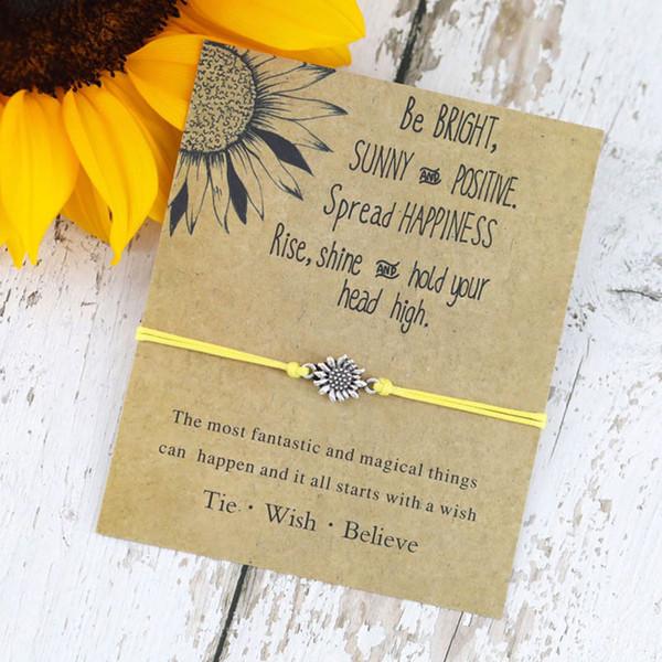 top popular Sunflower Design Bracelets Friendship Sister Gifts Bracelet Team Work Souvenir Handmade Crafts for Birthday Girls Fashion Floral Jewelry 2019