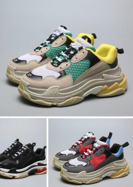 Hot!!2019 cheap for men cu17FW Triple-S Sneaker hj Casual Dad Shoes for Men's Women Beige Black Ceahp Sports Designer Shoe Size 36-45