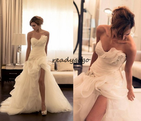 Organza Mermaid Wedding Dresses 2019 Ruched Asymmetrical Sweetheart Neckline High Low Crystals Beaded Side Split Wedding Bridal Gowns
