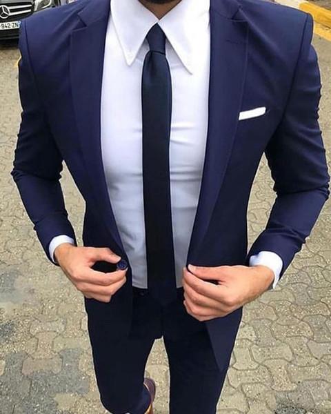 Men Suits 2018 Slim Fit Navy Blue Tuxedo Men Suit Groom Wedding Prom Blazer Mens Custom 2 Piece Suits Traje Hombre Vesti For