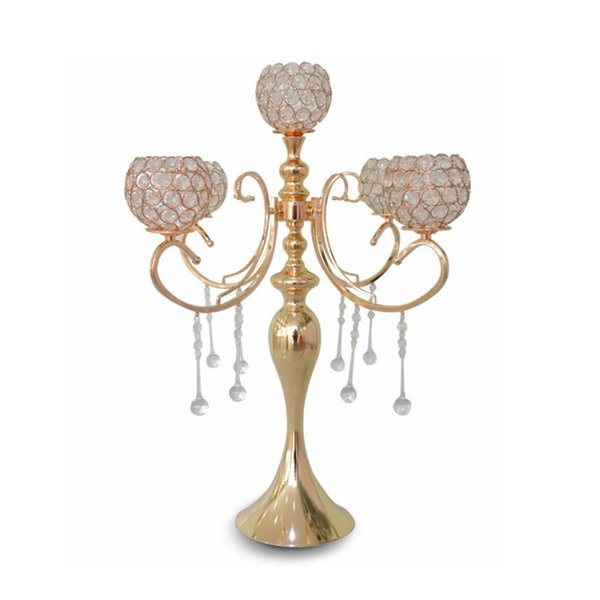 Wholesale European elegant new tall 5 arms wedding rose gold crystal candelabra for wedding decoration centerpieces