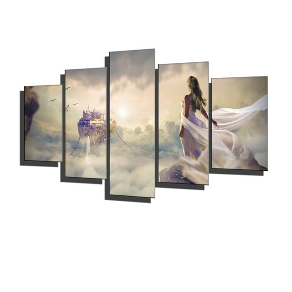 Fantasy Girl,Dream Floating House Castle Above Clouds Birds,5 Pieces Home Decor HD Printed Modern Art Painting on Canvas (Unframed/Framed)