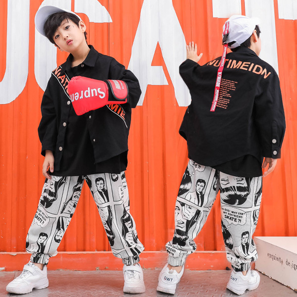 Girls Boys Black Denim Coats Hip Hop Clothing Jacket Jazz Jogger Dancing Pants T Shirt Dance Costume for Kids Ballroom Clothes