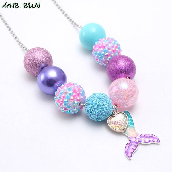 New Arrivel Mermaid Tail Kid Chunky Necklace Beaded Chain Girls Bubblegum Beads Charm Pendant Chunky Necklace Jewelry For Children