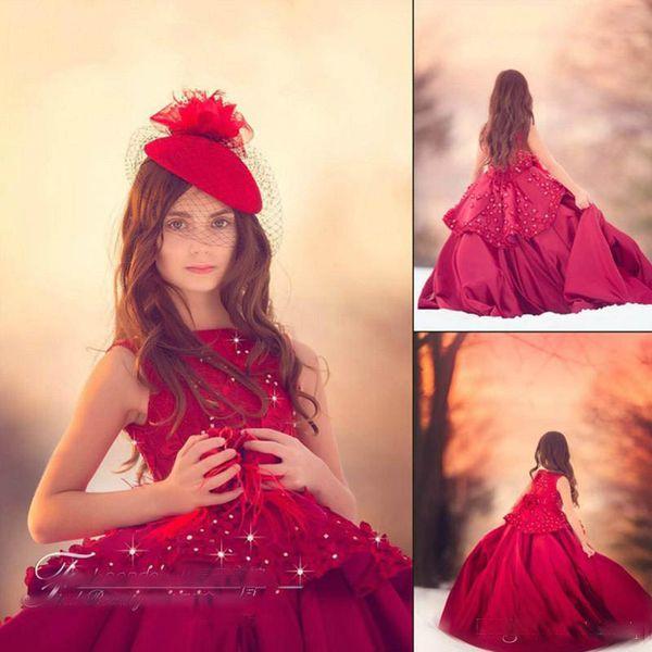 Abiti da spettacolo vintage per ragazze bordeaux con appliques floreali in pizzo 3D gioiello collo in rilievo una linea compleanno piuma per bambini abiti formali su misura