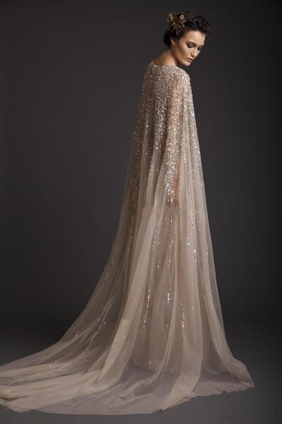 2019 New Arrival Evening Dresses Krikor Jabotian Stunning Amazing Scoop Beading A-line Prom Dresses Sweep Train Net vestido de Party Gowns