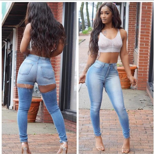 Wholesale Women jeans High Strength Water washed skinny jeans Ladies fashion New Style Leisure Bottom Jeans 208#
