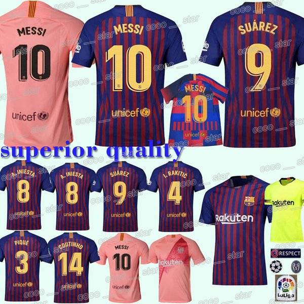 huge selection of 7ee78 18a2a 2019 #10 Messi Barcelona Soccer Jersey SUAREZ O.DEMBELE 18 19 Football  Jerseys Pink PIQUE Messi Club Team Football Uniform From  Best_jerseys_store, ...