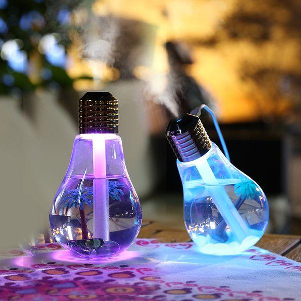 best selling 400ML Bulb Humidifier USB Ultrasonic Air Humidifier Colorful Night Light Essential Oil Aroma Diffuser Lamp Bulb Car Air Freshener GGA1884