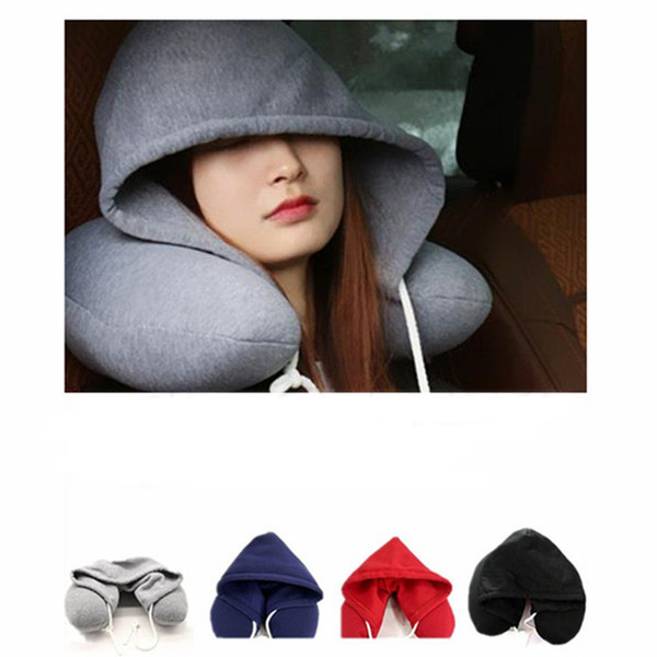 top popular Body Neck Pillow Solid Nap Cotton Particle Pillows Soft Hooded U-shaped pillow Airplane Car Travel Pillow Home Textiles 2021