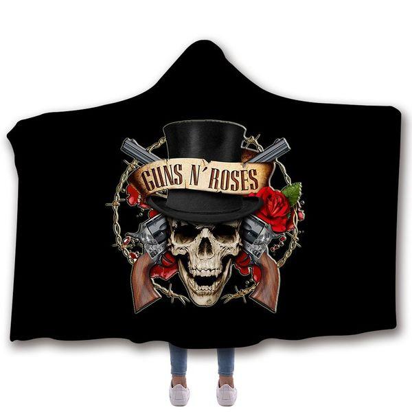150*200CM 3D Hooded Cloak 7 Designs Winter Thicken Throw Blanket Adult Guns N Roses Bathrobe 20 Pieces DHL