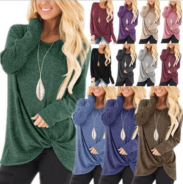 Side Twist Tee Shirts Irregular Loose O Neck Long Sleeve Tops Women Autumn Knotted Girls T Shirts O-LJJO7192
