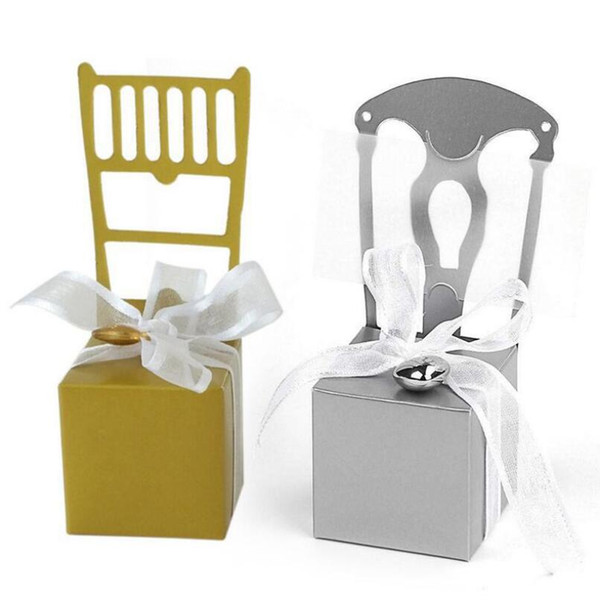 Classic Candy Box Silver Gold Chair Wedding Favor Box with Ribbon and Heart Charm For Wedding Gift Box LX6970