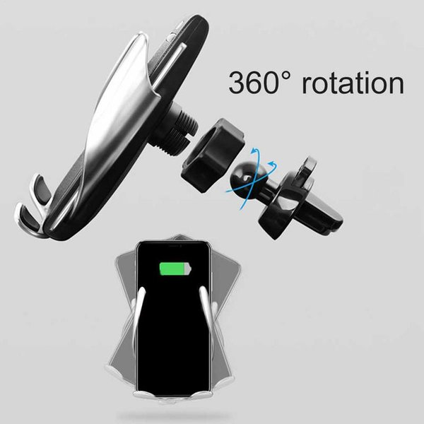 Automatische Spannen Wireless Car Charger Mount Voor iphone Android Air Vent Telefoon Houder 360 Graden Rotatie Opladen Beugel