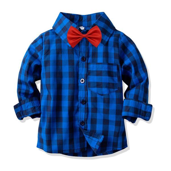 INS Toddler Kids Boys Shirts Gentleman Long Sleeve Stripes Plaid Tatting Cotton Polo Tshirts Spring Autumn Children Boys Casual Clothing