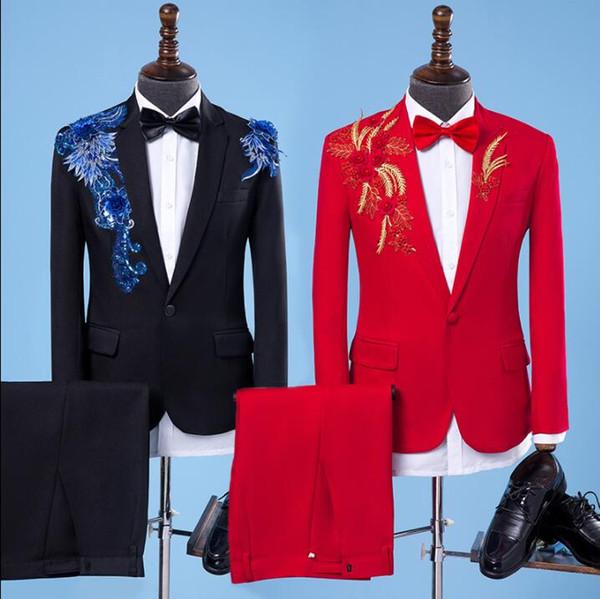 아플리케 결혼은 남성 재킷 소년 무도회 MARIAGE 패션 슬림 masculino 최신 코트 바지가 코러스 신랑의 옷을 디자인에 맞는 적합한