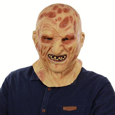 Toussaint Halloween feu au latex pour faire face au commerce extérieur charogne étrange tête terroriste zombie zombie visage masque visage gros