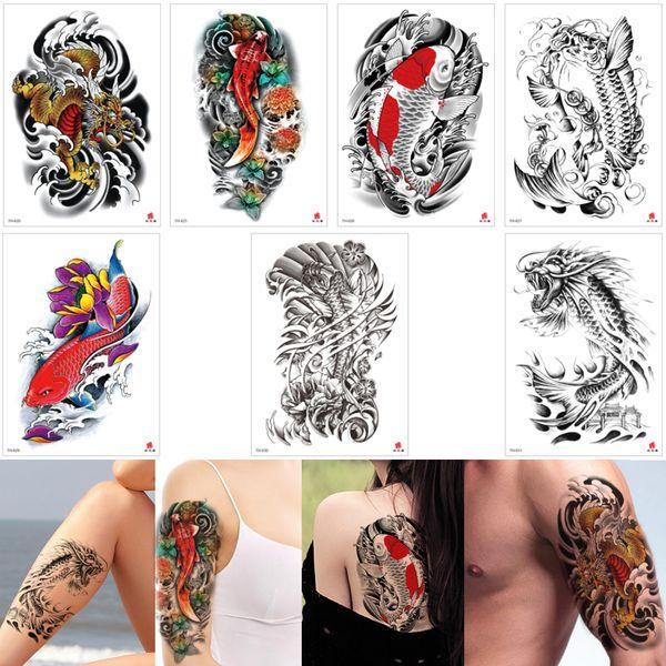 Fake Black Fish Temporary Tattoo Sticker Gold Dragon Colored Lotus Waterproof Tattoo Decal Design for Woman Man Arm Leg Back Body Art Makeup