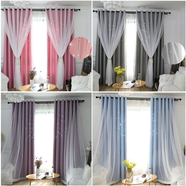 Jarl home Double Layer Kids Blackout Curtains with Sheer Creative Hollow Star Grommet Window Panels 2 Panels Blackout Curtain for Bedroom