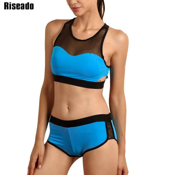 Riseado 2019 New Sexy Push Up Bikini Swimsuit Patchwork Swimwear Women Mesh Bathing Suits Cut Out Summer Beachwear