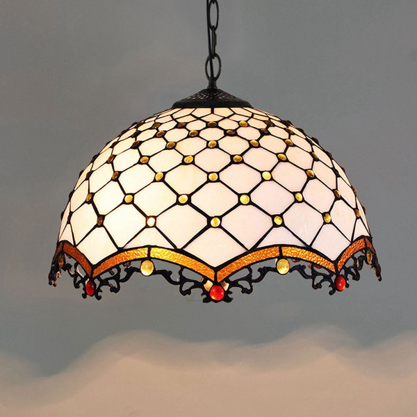 Dia40cm European Modern Minimalist White Pendant Lamps Vintage Tiffany Lighting Stained Glass Hanging Lamp For Dinning Room Bedroom Copper Pendant