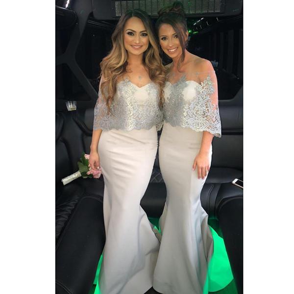 2019 Gri Gelinlik Modelleri Mermaid Kapalı Omuz Dantel Saten Düğün Konuk Elbiseleri Kat Uzunluk Balo Parti Abiye