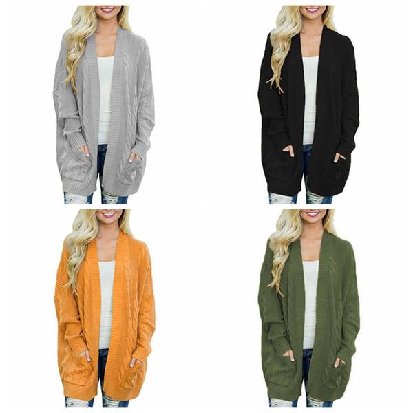 Kadın Büküm Kazak Hırka 4 Renkler Açık Ön Uzun Kollu Cepler Örme Sonbahar Kış Kazak Dış Giyim Analık LJJO6018 Tops