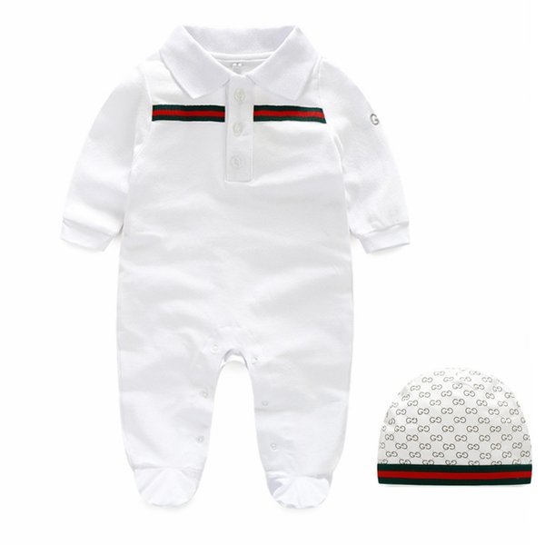dhqyzh07 / 2019 baby long sleeve romper fashion children striped letter jumpsuit + hat suit cute newborn kids clothes cotton infant boys girls clothing