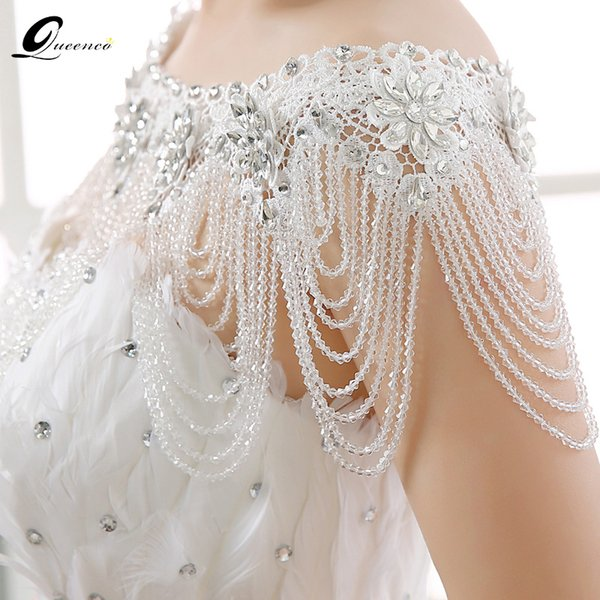 Fashion Jewelry Necklace New Luxury Lace Bridal Shoulder Chains Noble Wedding Chains Women Shoulder Straps Jewelry full Crystal Big Necklace