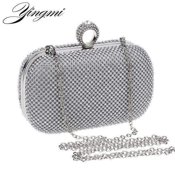 YINGMI Frauen Strass Abendtaschen Silber / Gold / Schwarz Fingerring Diamanten Kette Schulter Tag Clutch Kleine Geldbörse Abendtaschen # 88886