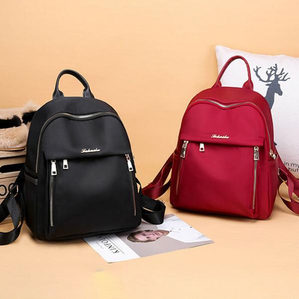 2019 Newest Hot Women Waterproof Oxford Cloth Travel Backpack Nylon Anti-theft Shoulder Rucksack Girl Solid Black Red School Bag