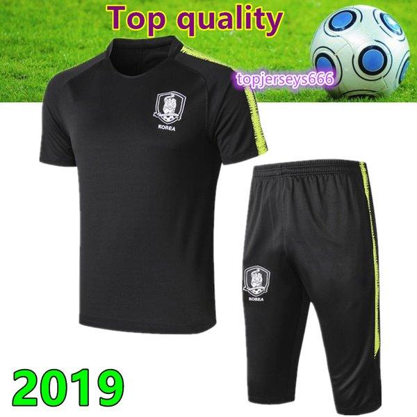 Высокое качество Корея футбол с коротким рукавом 3/4 брюки тренировочная рубашка 2019 Корея сын футбол с коротким рукавом 3/4 брюки