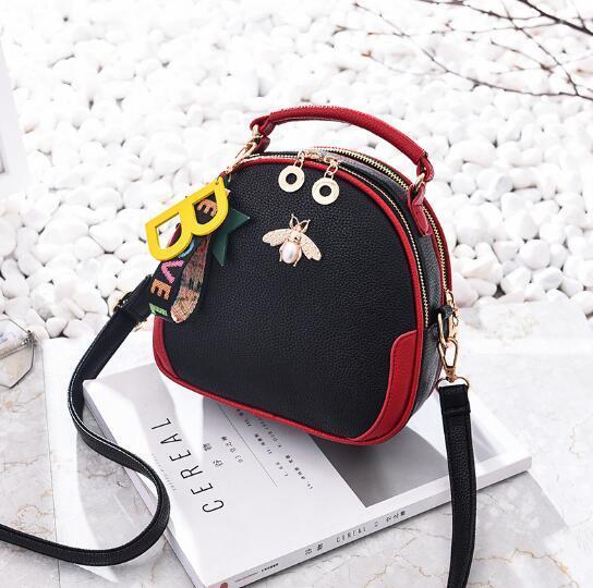 free shipping Cross-body small bag, bee-bee creative motorcycle bag, simple and versatile single-shoulder handbag, women's bag, exquisite an