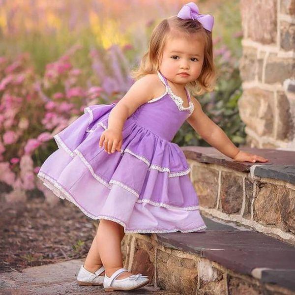 Estate europea e americana abbigliamento per bambini nuove ragazze cinghia di pizzo vestito pendenza viola soffice gonna torta