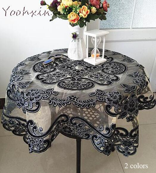 Luxury glitter Black square Tablecloth embroidery lace kitchen tea coffee Table Cover cloth Christmas New Year Wedding decor D19010902