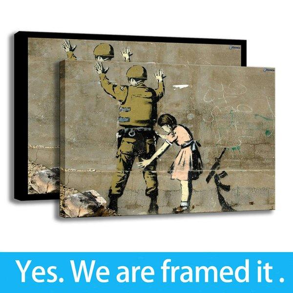 Arte Canvas HD Impressão Soldado, Menina Pinturas A Óleo Retrato Da Parede Decoração Do Quarto Emoldurado Arte - Pronto Para Pendurar - Personalização de Apoio