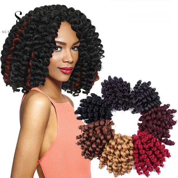 Wand Curls Crochet Hair Extensions 6packs Jamaican Bounce Wand Curled Hair Synthetic Braiding Hair 8 Inch