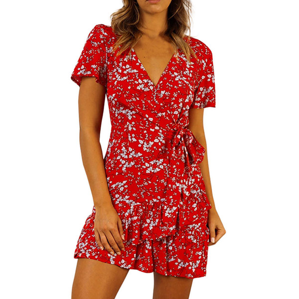 Summer Sexy Party Dress Women Vintage Floral V Neck Ruffle Wrap Dresses Woman Red Short Sleeve Beach Dress Women Clothes 2019