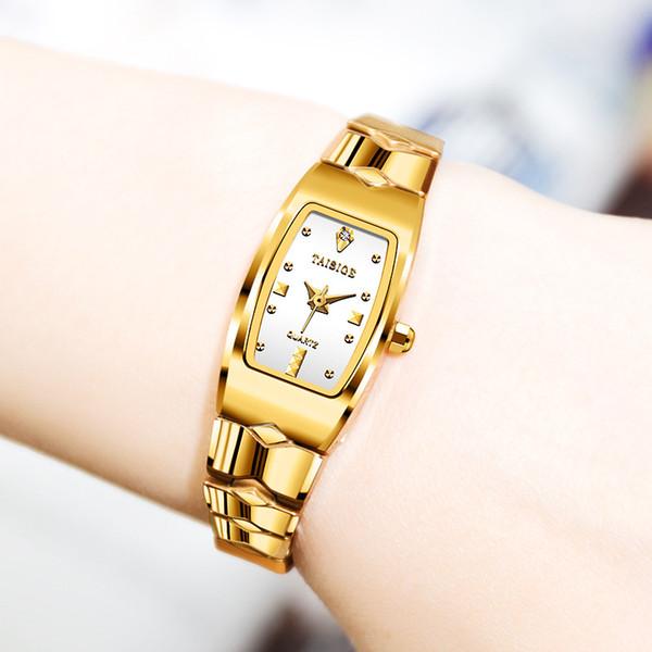 Fashion Sapphire Crystal Rectangle Diamonds Dial Ladies Watches Casual Gold Tungsten Steel Strap Waterproof Quartz Women's Watch