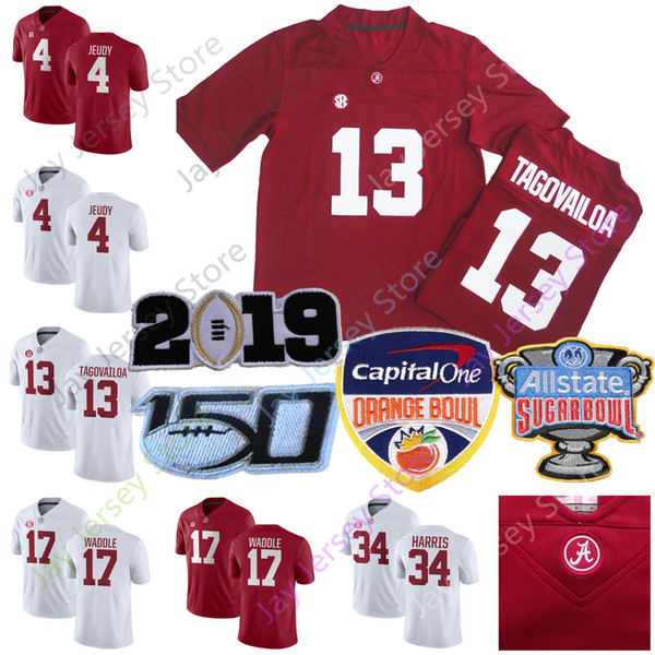 2019 ncaa 150th college alabama crim on tide jer ey 13 tua tagovailoa 4 jerry jeudy 17 jaylen waddle home away red white
