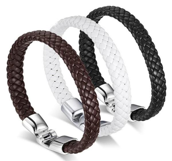 Punk Men Jewelry Pulsera de cuero trenzado negro / marrón Acero inoxidable Cierre magnético Brazaletes de moda
